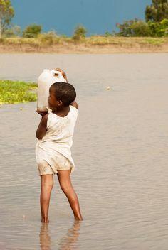 Collecting water in Musarua Reservoir, Lake Victoria, Tanzania.  Photo: Alison M. Jones