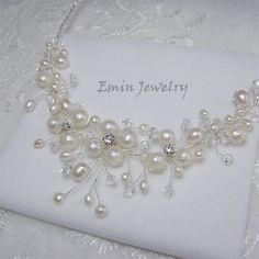 Agua dulce collar de perlas nupcial vid novia por adriajewelry