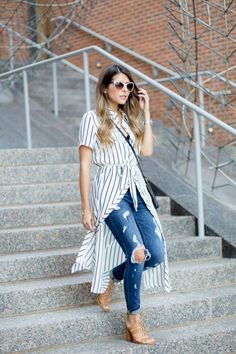 5 Looks That'll Convince You to Wear a Dress Over Pants - Hemd Outfit Long Shirt Outfits, Dress Outfits, Casual Outfits, Fashion Outfits, Shirtdress Outfit, Long Shirts, Casual Summer Outfits With Jeans, Shirt Over Dress, Striped Shirt Dress