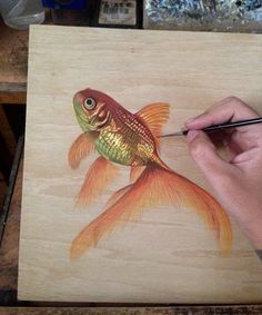 Ivan Hoo Art - First Goldfish done.Acrylic Inks On plywood. For my next 'If wishes were fishes' series.