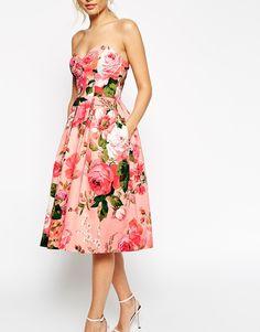 Image 3 - ASOS SALON - Robe de bal de fin d'année mi-longue à décolleté bandeau et imprimé roses
