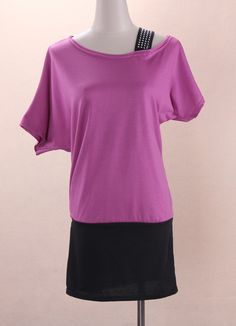 Elastic Cotton Fashion Casual Bat-Wing Dresses Purple
