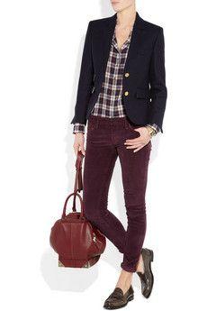 great Saturday outfit - jcrew boyfriend blazer, rag and bone wine jeans, jcrew penny loafers and flannel shirt...so cute!