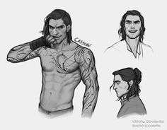 """artofviccolatte: """"And No.3 - Cassian. Always looked like a pirate in my head for some reason, so really wanted that rough around the edges look for the guy in these, and gosh but Illyrian tattoos are..."""