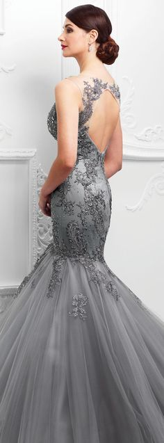 Mermaid Prom Dress With Beading,Open Back Lace Evening Dress,254 - Thumbnail 1