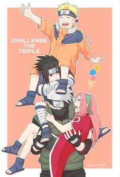 Naruto Team 7, Naruto And Sasuke, Anime Naruto, Naruto Shippuden Characters, Kakashi Sensei, Naruto Cute, Naruto Shippuden Sasuke, Naruto Girls, Sakura And Sasuke