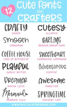 Looking for cute fonts for craft projects? These smooth, easy to cut fonts are a… Looking for cute fonts for craft projects? These smooth, easy to cut fonts are amazing for Cricut and Silhouette. This cute font list is full… Continue Reading → Polices Cricut, Vinyle Cricut, Fancy Fonts, Cricut Tutorials, Cricut Ideas, Silhouette Cameo Projects, Clipart, Cricut Design, Craft Projects