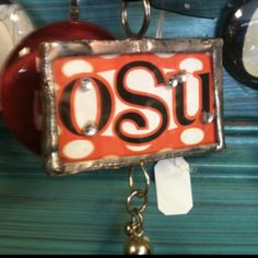 Oklahoma State glass jewelry!!