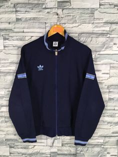 fc4b4ed3 Vintage ADIDAS Jacket Track Top Medium Adidas Trefoil Blue Three Stripes  Sportswear Trainer Zipper Jacket Size M