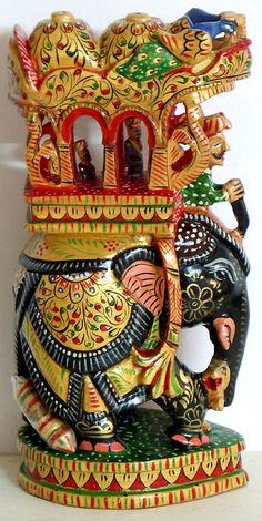 Royal Elephant with Howdah, Mahut and King (Wood)