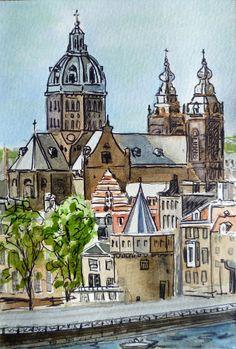 Amsterdam Holland by Irina Sztukowski ~ watercolor illustration