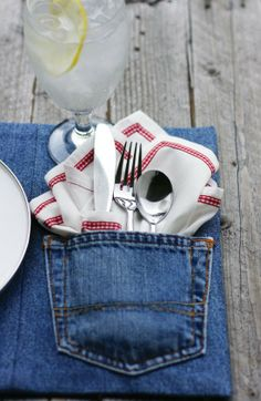 DIY denim placemat project.