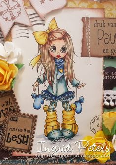 """Copic Marker Benelux: Saturated Canary """"Nikki"""" -  skin : E13, 11, 00, 0000, R21, 29  mind : B95, 93, 91  her : E27, 25, 31, 50  coat, scarf and mittens : B39, 37, 34, 32  Coat, Maillot and skating : BG78, 75, 72, 70, C3  trap and beenwarmers : YR24, Y26, 21, 00  floor : C5, 3, 1"""