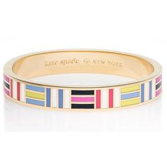 Kate Spade Born To Fly Hinged Idiom Bangle ($54) ❤ liked on Polyvore featuring jewelry, bracelets, kate spade bangle, kate spade, tri color jewelry, tri color bangles and hinged bracelet