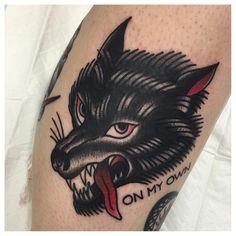 Wolf by Jeremy D (@ jeremy_d_) #peonytattoo #linework #tattooapprentice