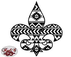 Aztec Fleur De Lis by RedEorKnot on Etsy https://www.etsy.com/listing/254561310/aztec-fleur-de-lis
