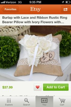 Burlap ring bearer pillow (I like the wooden hearts, but I would do initials).