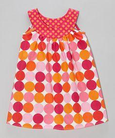Look at this #zulilyfind! Pink & Orange Bold Polka Dot Yoke Dress - Toddler & Girls by SILLY MILLY #zulilyfinds