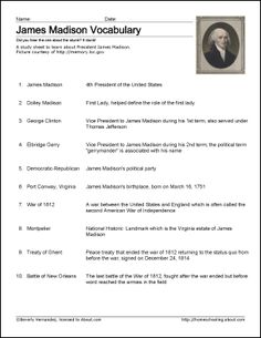 james madison worksheets and coloring pages james madison vocabulary study sheet