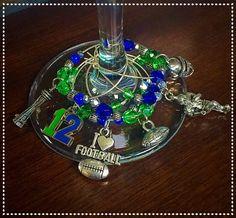Seahawks  Beaded Wine Charms/Earrings by TwoSistersGrimm on Etsy
