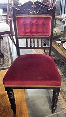 Burgundy Velvet Cushioned Chair with Gold Trim
