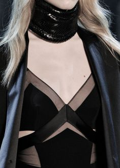 Black panelled dress & choker; fashion details // Alexandre Vauthier Spring 2015