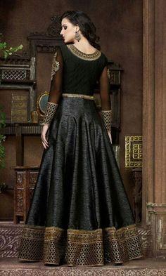 Black Floor Length Anarkali Suit-