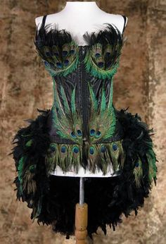 Black Custom Peacock Showgirl Saloon Girl Moulin Burlesque Rouge Costume w/Feather Train