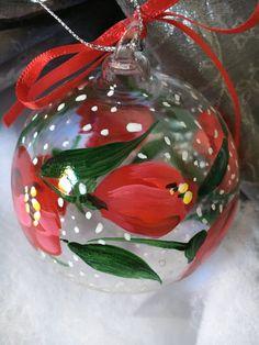 sfera di vetro decorata a mano per albero di natale regalo di natale pallina floreale personalizzata bolla di sapone tulipani rossi neve di soniacrea su Etsy