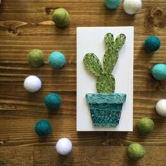 Cactus is art.Art is cactus Mini Cactus, Cactus Flower, Cactus Cactus, Flower Art, Easy Crafts, Diy And Crafts, Arts And Crafts, Cuadros Diy, Nail String Art