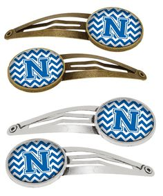 Letter N Chevron Blue and White Set of 4 Barrettes Hair Clips CJ1056-NHCS4
