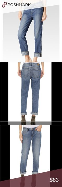 "NWT Paige Porter Mid Rise Boyfriend Straight Jeans NWT Paige Porter Keaton Mid-Rise Boyfriend Straight Jean is the next evolution of the boyfriend jean. It's a relaxed mid-rise with a true straight leg silhouette & can be styled with an extra wide cuff. This pair comes in a medium to light blue wash with ample fading & whiskering, and features a worn-in, vintage inspired look. Made from 40% Tencil, it's soft & drapey for a comfortable fit. Finished with copper hardware. Rise 9 3/8""  Inseam…"