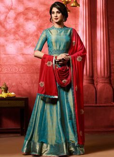 Buy Jennifer Winget Blue Banarasi Two Tone Silk Heavy Resham Embroidery Work Salwar Kameez at best prices on Variation Fashion. Huge range of anarkali suits, bollywood suits and designer salwar kameez for women. Banarasi Lehenga, Silk Anarkali Suits, Anarkali Gown, Saree Dress, Long Anarkali, Salwar Suits, Floor Length Anarkali, Floor Length Dresses, Salwar Kameez