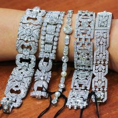 antique diamond bracelets from Canadian estates auctions Fashion Bracelets, Jewelry Bracelets, Fashion Jewelry, Ankle Bracelets, Silver Bracelets, Jewlery, Art Deco Jewelry, Fine Jewelry, Antique Jewelry