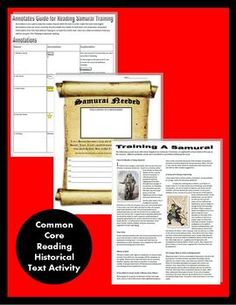 Medieval Japan Samurai CCS Reading & Want Ad, Primary Source Activity 7th Grade Social Studies, Social Studies Lesson Plans, Middle School History, Wanted Ads, Study Board, Common Core Reading, History Teachers, Student Reading, Piano Lessons