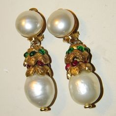 FABULOUS & RARE 1970's CHANEL Baroque Pearl Gripoix Glass Drop Earrings