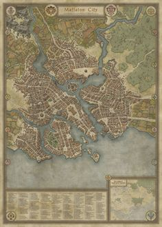 """One of the most detailed fantasy maps I've ever seen. infinitemachine: """" Map of the Day: Maffaton City by DaelinD """""""