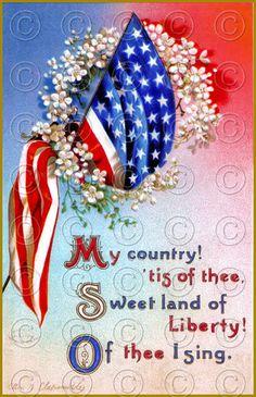 Victorian Patriotic Flag 4th of July Vintage Postcard Digital Image