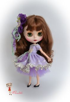 Lilac set for Blythe. Dress skirt of tulle and head