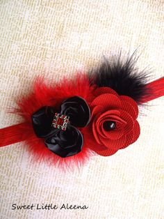 Black and Red Baby Girls Flower Hair Bow Clip,Newborn Fancy Feather Headband. $10.99, via Etsy.