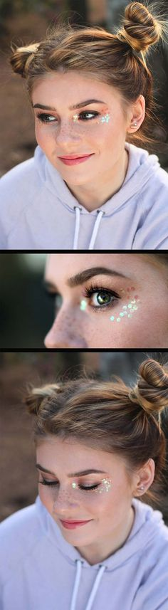 Festival Makeup Tutorials - Cute Coachella Tutorial - Awesome Glitter and Rhinestone Make Up Ideas for the Next Rave or Summer Music Festival - Awesome Tribal and Bohemian Looks For Summer Plus a Great Gold Boho Tutorial for the Next EDM Show - thegoddess.com/festival-makeup-tutorials