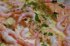 Krämig pepparrotslax med räkor Mindful Eating, Fish And Seafood, Lchf, Pasta Salad, Veggies, Low Carb, Dessert, Dinner, Cooking