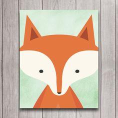 Woodland Fox Nursery Wall Art Poster par INVITEDbyAudriana sur Etsy