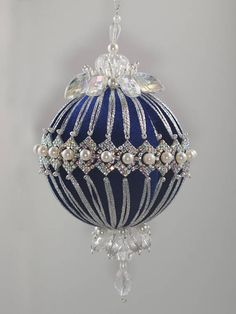 Items similar to Blue Christmas Ball Ornament 9 cm, Christmas Tree Balls, Christmas Tree Decor, Kimekomi on Etsy, Victorian Christmas Ornaments, Quilted Christmas Ornaments, Blue Christmas, Elegant Christmas, Christmas Tree Ornaments, Christmas Mantels, Vintage Ornaments, Christmas Villages, Christmas Decor