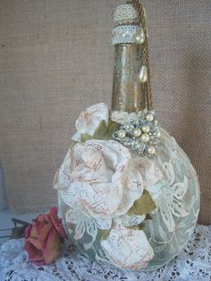 Shabby Chic Bottle Altered Bottle French Chic by AngelandAnnie, $12.00