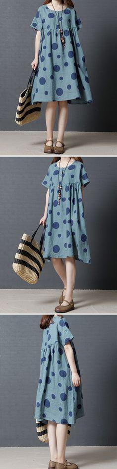 US$25.56 Vintage Women Polka Dots Short Sleeve Pocket Dresses