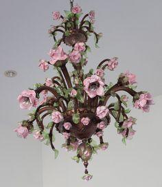 Important Large Pauly Co Venezia Roses 9 Light Murano Glass Chandelier Dallas | eBay
