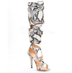 (113.60$)  Watch more here - http://aiddt.worlditems.win/all/product.php?id=32792478408 - Choudory Women Pumps Shoes Snakeskin Cut-outs High Heel Sandals Open Toe Buckle Decoration Stiletto Heel Gladiator Summer Boots