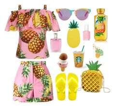 A fashion look from March 2017 featuring layered ruffle tops, colorful shorts and Havaianas. Browse and shop related looks. Ruffle Top, Essie, Miss Selfridge, Pineapple, Toms, Fashion Looks, Summer, Polyvore, Shopping
