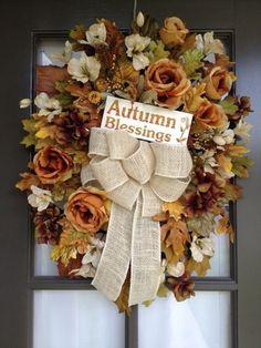 Autumn or Fall Floral arrangement Door Swag/Wreath Fall Swags, Fall Wreaths, Fall Floral Arrangements, Door Swag, Earth Tones, Garlands, Shades, Wedding Ideas, Decorations